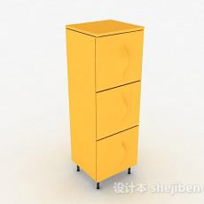 时尚黄色储物柜3d模型下载