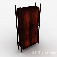 原木风格双门衣柜3d模型下载