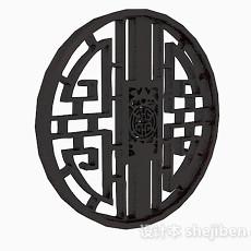 黑色圆形镂空图案窗户3d模型下载