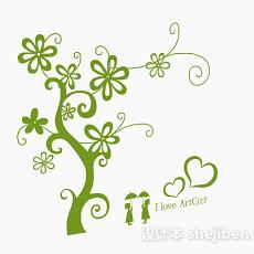 现代风格绿色墙纸3d模型下载