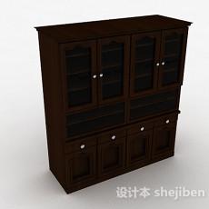 棕色大型四门展示柜3d模型下载