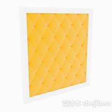 黄色床头软包3d模型下载