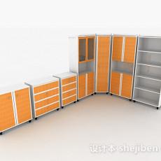 家居橙色柜子组合3d模型下载