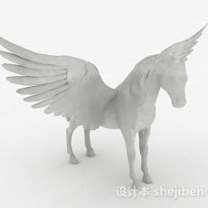 现代风格白色飞马家居摆件3d模型下载