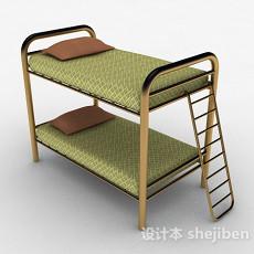 现代风草绿色双层单人床3d模型下载