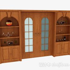 家居木质推门3d模型下载