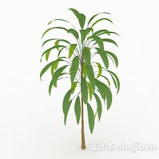 绿色椭圆形树叶小树3d模型下载