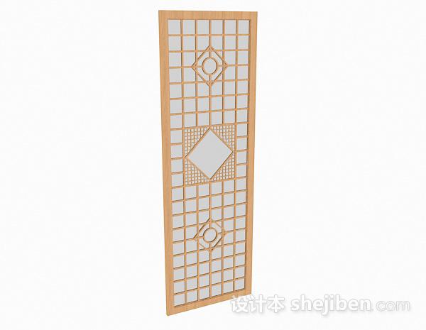 浅木色方形雕刻屏风
