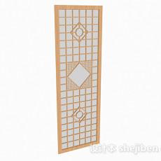 浅木色方形雕刻屏风3d模型下载
