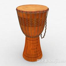 红棕色非洲手鼓3d模型下载