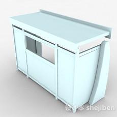 浅蓝色木质售卖亭3d模型下载