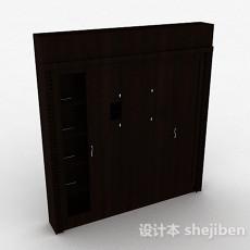 现代风格木质推拉门衣柜3d模型下载