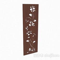 单面雕刻花朵屏风装饰图3d模型下载