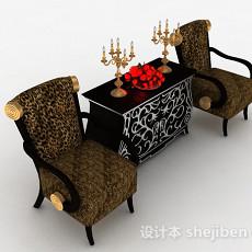 欧式豹纹花纹家居椅3d模型下载