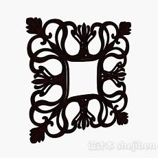 中式风格对称花卉雕刻品3d模型下载