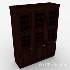欧式深棕色多门展示柜3d模型下载