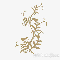 姜黄色木质花卉雕刻品3d模型下载