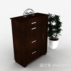 深棕色木质鞋柜3d模型下载