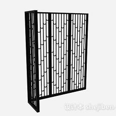 黑色四面镂空隔断3d模型下载