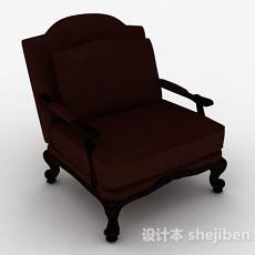 棕色单人家居椅3d模型下载