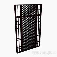 黑色木质镂空隔断3d模型下载