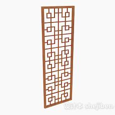 中式木质镂空屏风3d模型下载