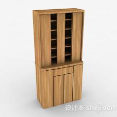 浅木色木质双门展示柜3d模型下载