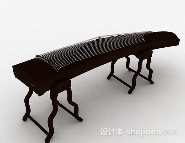 中式风棕色木质古筝模型