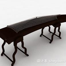 中式风棕色木质古筝3d模型下载