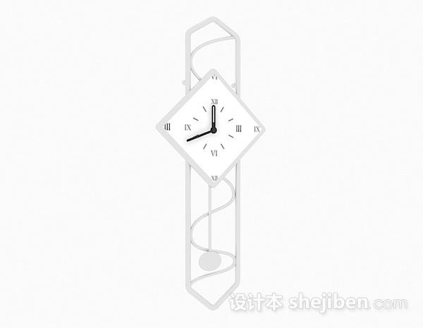 现代风格白色金属时钟