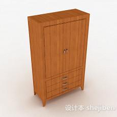 黄色木质衣柜3d模型下载