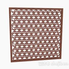 镂空圆形组合图案木质窗户3d模型下载