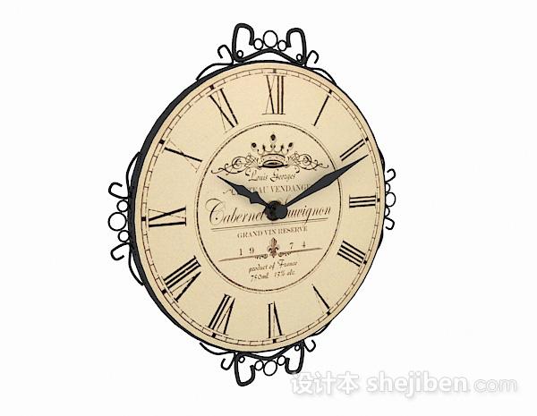 欧式风格圆形时钟模型
