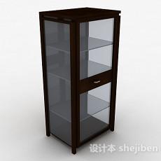 棕色木质多层展示柜3d模型下载