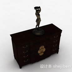 中式木质厅柜3d模型下载