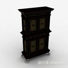 中式双层木质储物柜3d模型下载