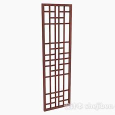 棕色单门长型窗户3d模型下载