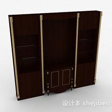 现代风棕色木质组合展示柜3d模型下载