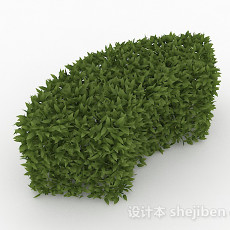 披针形树叶灌木扇形造型3d模型下载