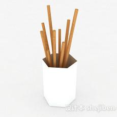 纯白色筷子篓3d模型下载