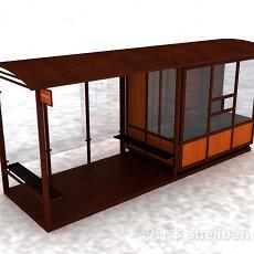 棕色木质售卖亭3d模型下载