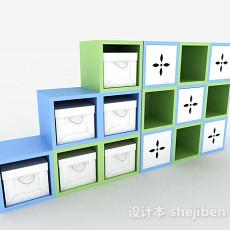 时尚蓝绿收纳柜3d模型下载