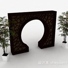 中式庭院门3d模型下载