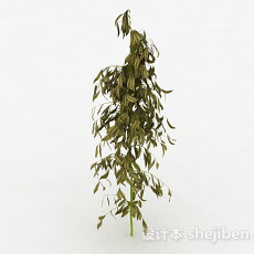 椭圆形树叶树苗3d模型下载