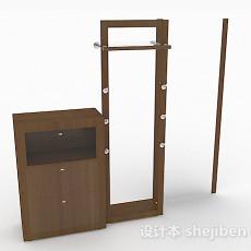 现代风格棕色组合家居衣架3d模型下载