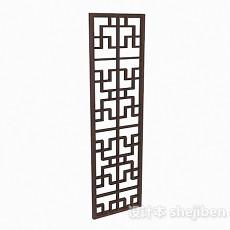 中式风格深棕色单门窗户3d模型下载