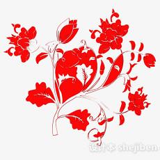红色花卉图案壁纸3d模型下载