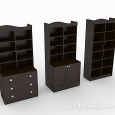 家居棕色木质组合书柜3d模型下载