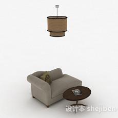 灰色布艺单人沙发3d模型下载
