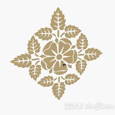 浅木色花卉墙纸3d模型下载